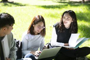 外でパソコンを開いて勉強をしている学生3人の写真素材 [FYI04862599]