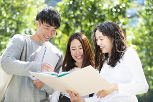ファイルを広げて話している学生3人の写真素材 [FYI04862623]