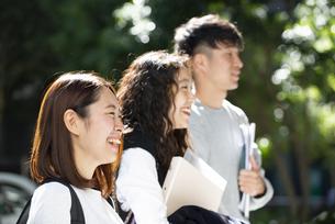 並んで笑っている若者3人の横顔の写真素材 [FYI04862662]