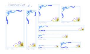 可愛いリボンとお花のバナーデザインセットのイラスト素材 [FYI04862817]