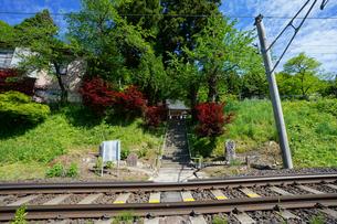 線路と千手観音入り口の写真素材 [FYI04863212]