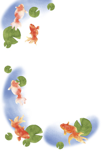 金魚とスイレンの葉の水彩画 はがきサイズのイラスト素材 [FYI04863305]