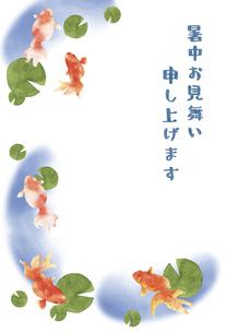 金魚とスイレンの暑中お見舞いのイラスト素材 [FYI04863306]