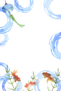 金魚と風鈴の水彩画 はがきサイズのイラスト素材 [FYI04863309]