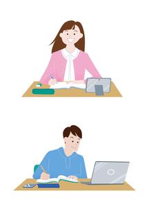 オンライン学習をする男子学生と女子学生のイラスト素材 [FYI04863485]