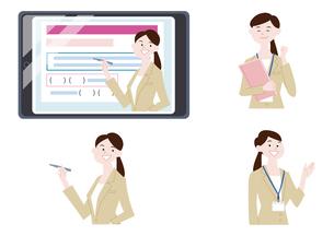 タブレットに映る授業風景の女性教師のイラストのイラスト素材 [FYI04863490]