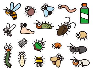 害虫駆除のデフォルメイラストレーションのセットのイラスト素材 [FYI04863801]