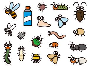 害虫のデフォルメイラストレーションのセットのイラスト素材 [FYI04863802]