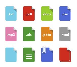 拡張子つき書類ファイルのアイコンセットのイラスト素材 [FYI04863822]