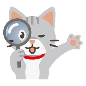虫眼鏡を覗く猫のイラスト素材 [FYI04864011]