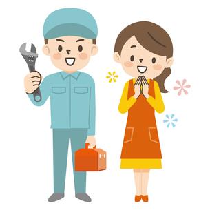 修理に来た作業員男性を笑顔で迎える主婦のイラスト素材 [FYI04864078]