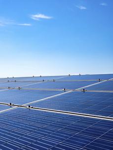 【再生可能エネルギー】青空の下の太陽光発電 ソーラーパネル 縦構図の写真素材 [FYI04864688]