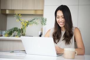 家でパソコンを開いて作業をしている女性の写真素材 [FYI04865392]