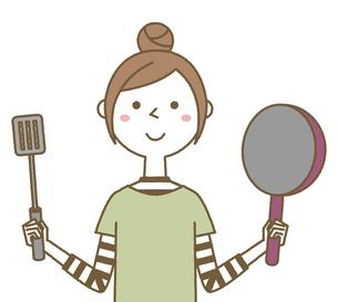 料理をする若い女性 ママのイラスト素材 [FYI04866396]