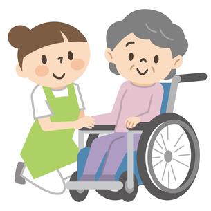 車椅子のシニア女性と若い介護スタッフのイラスト素材 [FYI04866407]