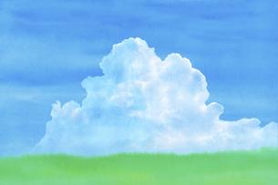 緑の草原に青空と夏雲水彩画のイラスト素材 [FYI04866410]