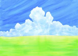 緑の草原に青空と夏雲水彩画のイラスト素材 [FYI04866414]