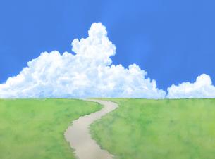 緑の草原に青空と夏雲水彩画のイラスト素材 [FYI04866417]