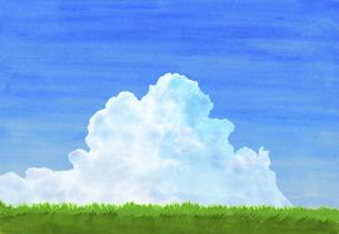 緑の草原に青空と夏雲水彩画のイラスト素材 [FYI04866418]