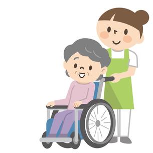 車椅子のシニア女性と若い介護スタッフのイラスト素材 [FYI04866476]