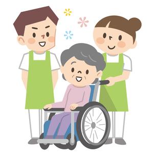 車椅子のシニア女性と若い介護スタッフのイラスト素材 [FYI04866477]