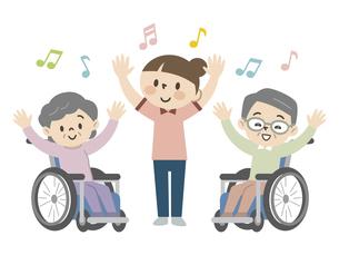 介護施設でレクリエーションを楽しむ高齢者のイラスト素材 [FYI04866478]