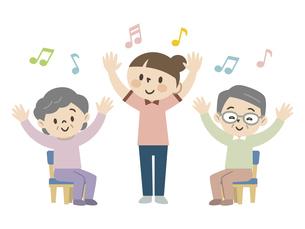 介護施設でレクリエーションを楽しむ高齢者のイラスト素材 [FYI04866479]
