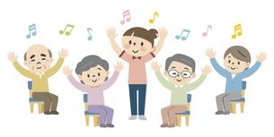 介護施設でレクリエーションを楽しむ高齢者のイラスト素材 [FYI04866480]