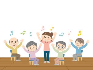 介護施設でレクリエーションを楽しむ高齢者のイラスト素材 [FYI04866481]