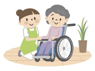 車椅子のシニアの女性と介護スタッフのイラスト素材 [FYI04866482]