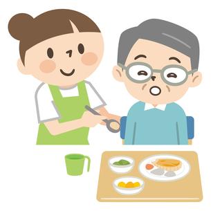 高齢者の食事を手伝う介護スタッフのイラスト素材 [FYI04866483]