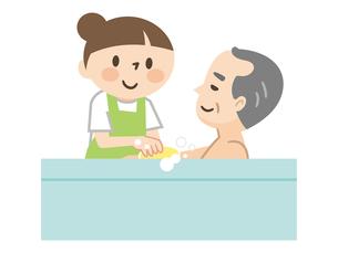 高齢者の入浴を手伝う介護スタッフのイラスト素材 [FYI04866486]