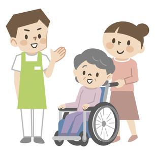 車椅子のシニア女性と若い介護スタッフのイラスト素材 [FYI04866488]