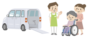福祉車両と車椅子のシニア女性と介護スタッフのイラスト素材 [FYI04866489]