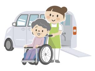 福祉車両と車椅子のシニア女性と介護スタッフのイラスト素材 [FYI04866490]