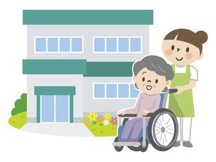 介護施設と車椅子のシニア女性と介護スタッフのイラスト素材 [FYI04866491]