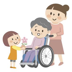車椅子のシニア女性と家族のイラスト素材 [FYI04866492]