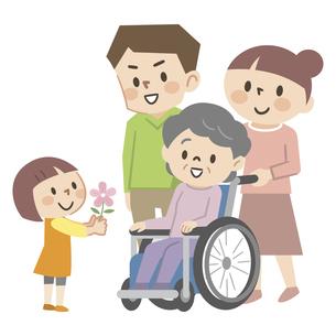 車椅子のシニア女性と家族のイラスト素材 [FYI04866493]