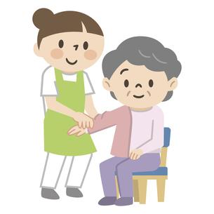 高齢女性に更衣介助を行う介護スタッフのイラスト素材 [FYI04866495]