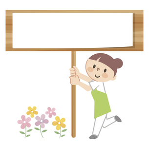 看板を手に持つ女性スタッフのイラスト素材 [FYI04866498]