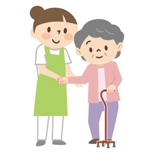 杖をついた高齢者女性を介助する若い女性介護士のイラスト素材 [FYI04866504]
