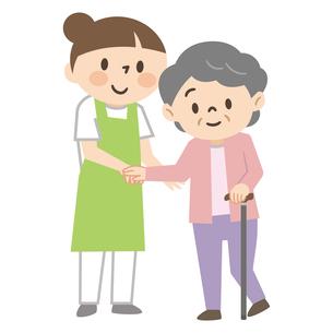 杖をついた高齢者女性を介助する若い女性介護士のイラスト素材 [FYI04866505]