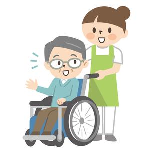 若い介護士と話す車椅子のシニア男性のイラスト素材 [FYI04866509]