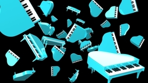 Many blue pianos on black background. 3D rendered illustration for background.のイラスト素材 [FYI04866525]