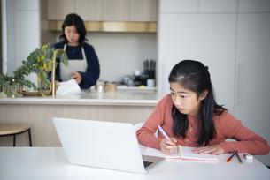 パソコンを見ながら勉強をしている女の子と母親の写真素材 [FYI04866896]