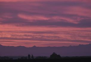 朝焼けの農場風景の写真素材 [FYI04867197]