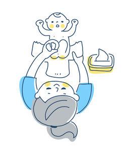 赤ちゃんのオムツを変えるママのイラスト素材 [FYI04867235]