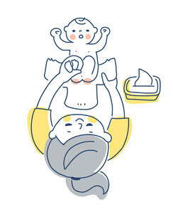 赤ちゃんのオムツを変えるママのイラスト素材 [FYI04867236]