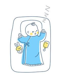 スヤスヤと眠る赤ちゃんのイラスト素材 [FYI04867238]