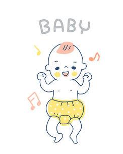 笑っているオムツ姿の赤ちゃんのイラスト素材 [FYI04867239]